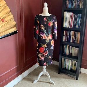 Floral Zip Up Midi Cocktail Dress